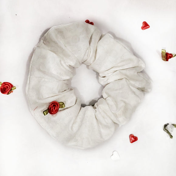 White Flower Scrunchie