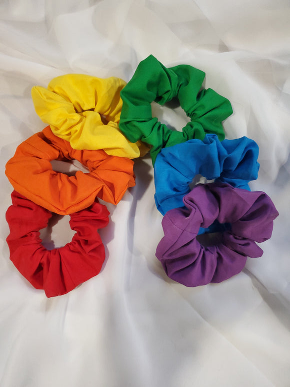 Rainbow Scrunchie 6 Set