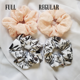 Baby Pink and Thistle Print Scrunchie Set