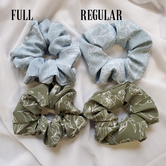 Baby Blue and Green Floral Scrunchie Set