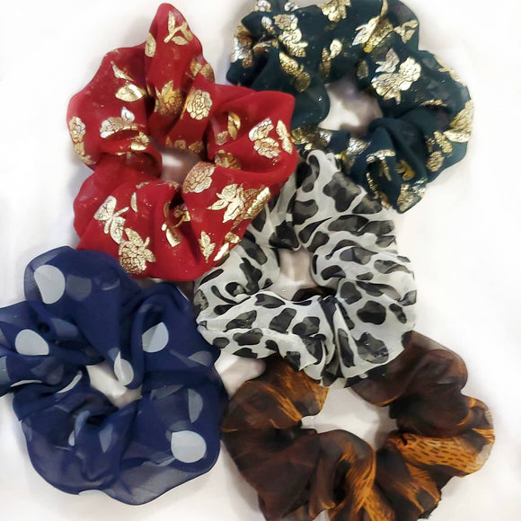 Lightweight Sheer Scrunchie 5 Pack