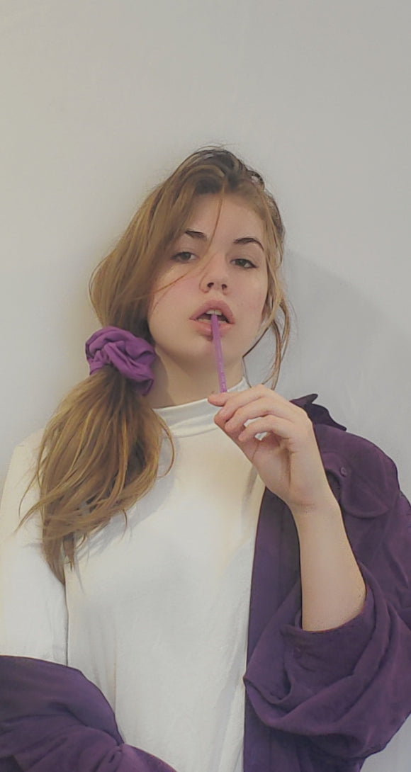 Purple Cotton Scrunchie