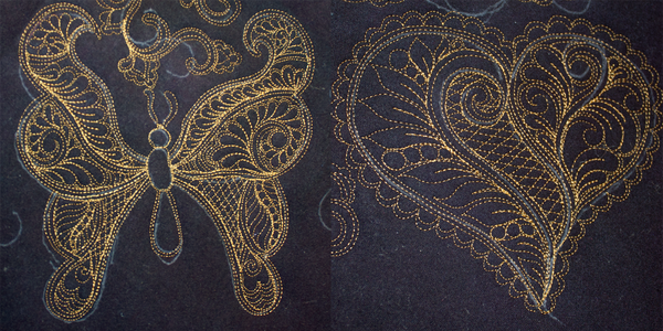 Longarm - Eastern Henna Stipples - Heart and Butterfly
