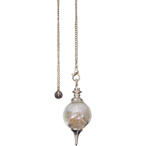 Glass Sephoroton Salt and Selenite Chips Pendulum (Cleansing)