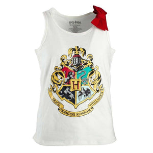 Harry Potter Hogwarts Crest Girls Tank Top Shirt with Red Bow