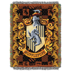 "Harry Potter, ""Hufflepuff Crest"" Woven Tapestry Throw Blanket"