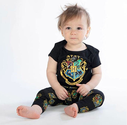 Harry Potter Hogwarts Crest Baby Clothes Combo Onesie Infant Apparel-24 Months
