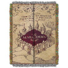"Load image into Gallery viewer, Harry Potter, ""Marauders Map"" Woven Tapestry Throw Blanket"