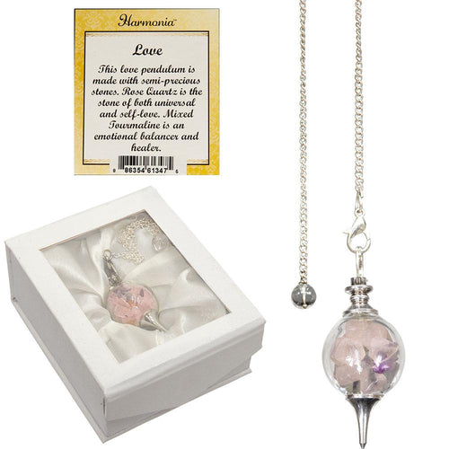Glass Sephoroton Rose Quartz & Emerald Chips Pendulum (Love)