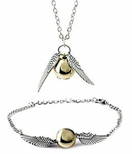 Golden Snitch Necklace and Bracelet Set