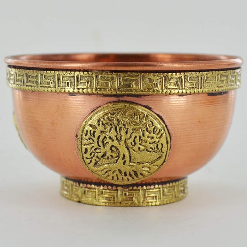 TREE OF LIFE COPPER BOWL INCENSE AND CHARCOAL BURNER