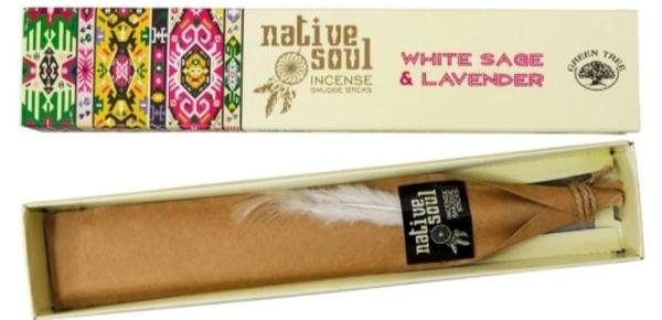Green Tree Native Soul White Sage and Lavender Incense Sticks