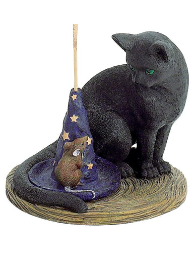 MAGICAL CAT WITH WIZARD HAT INCENSE HOLDER