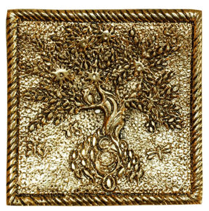GOLD ALUMINUM SQUARE TREE OF LIFE INCENSE HOLDER