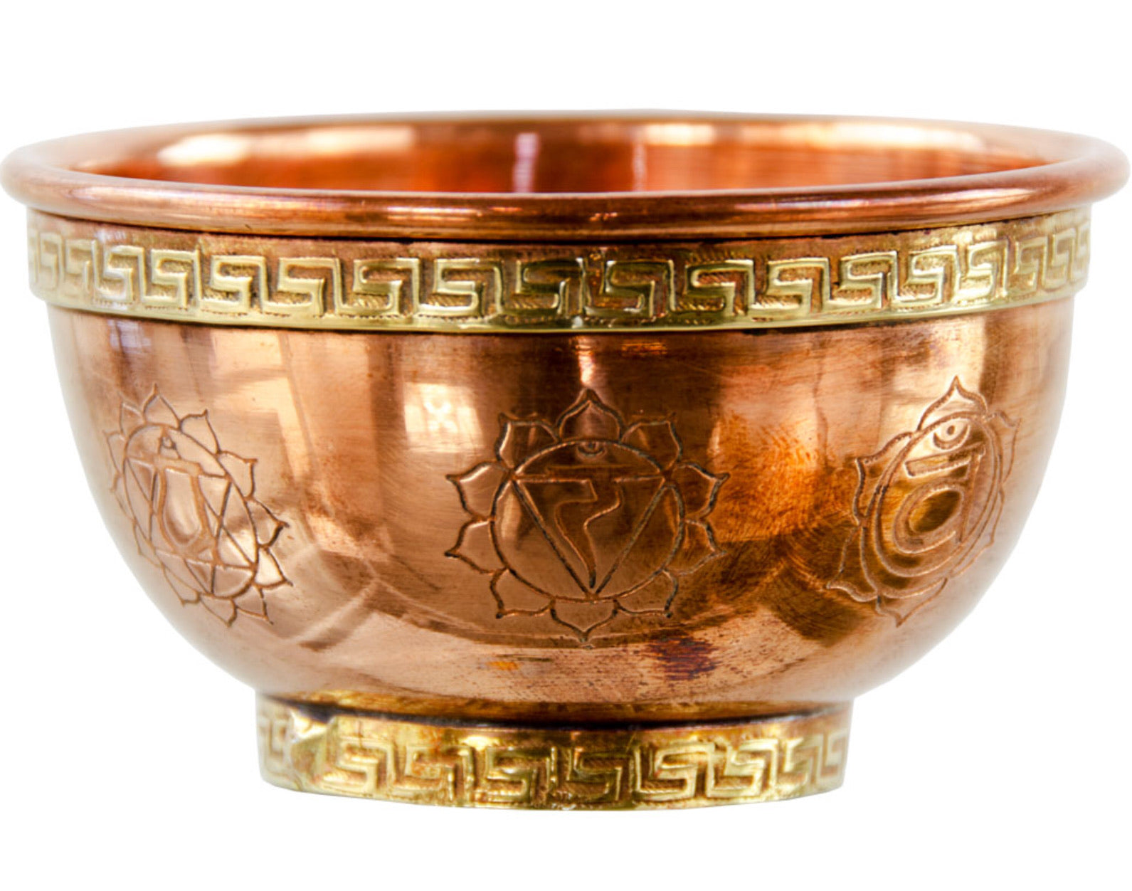 SEVEN CHAKRAS COPPER BOWL INCENSE AND CHARCOAL BURNER