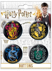 Hogwart's House Crest Button Set