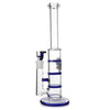 Glass Triple Disc Perc Bong Blue Honeycomb Italia