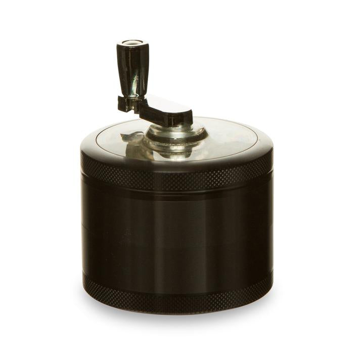 edit 4 piece herb grinder with rotary crank handle