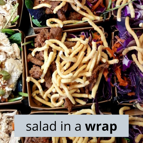 Thai Beef Salad in a Wrap. Spicy beef, red cabbage, carrot, savoury crispy noodles and mesclun with CRAVE's house-made Thai dressing. Contains gluten.