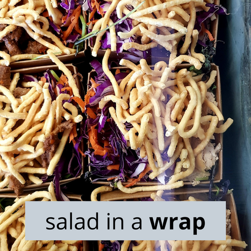 Thai Chicken Salad in a Wrap. Spicy chicken, red cabbage, carrot, savoury crispy noodles and mesclun with CRAVE's house-made Thai dressing. Contains gluten.