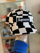 Load image into Gallery viewer, Supreme Checkered Velvet Camp Cap