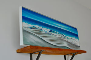 "Calm - 36""x12"" Oil Painting on Canvas, Framed in White Alluminum Floating Frame"
