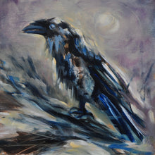 "Load image into Gallery viewer, Raven and the Moon - 8""x8"" Oil Painting on Birch Wood Panel, Wood Finish Siding"