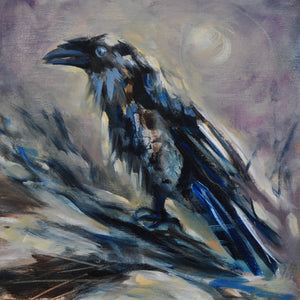 "Raven and the Moon - 8""x8"" Oil Painting on Birch Wood Panel, Wood Finish Siding"