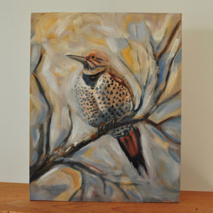 "Northern Flicker - 8""x10"" Oil Painting on Birch Wood Panel, Wood Finish Siding"