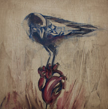 "Load image into Gallery viewer, Tell Tale Heart, 12""x12"" Oil on Wood Panel, Wood Side Finish"