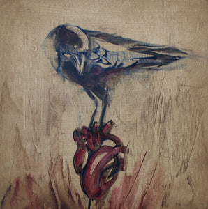 "Tell Tale Heart, 12""x12"" Oil on Wood Panel, Wood Side Finish"