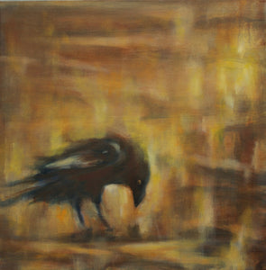 "Two Headed Raven, 12""x12"" Oil on Gallery Wrap Canvas"