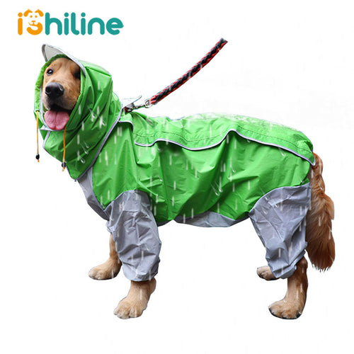 Small Large Dog Raincoat Waterproof Clothes For Big Dogs Jumpsuit Rain Coat Hooded - petsprive.com