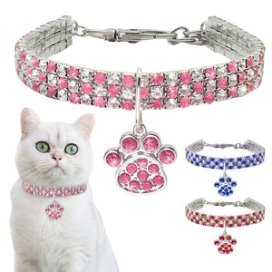 Bling Rhinestone Cat Dog Collar Puppy Necklace Small Dogs Cats Collars Pet Accessories With Paw Pendant For Kitten Chihuahua - petsprive.com