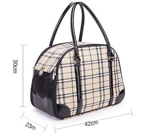 Designer Pet Carrier for Small Dog Travel Luxury PU Leather Carrier Bag Outdoor Foldable Dog - petsprive.com