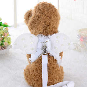Cute Angel Wing Princess Pet Dog Harness Leashes Puppy Pearl Accessories Adjustable Leashes Size S-L For Small Dogs - petsprive.com