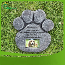 Load image into Gallery viewer, Memorial Tombstone for Pet Keepsake Gravestone Tomb Dog Cat Paw Print Animal Funeral Footprint Shaped Can Put Photos - petsprive.com