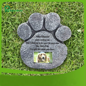 Memorial Tombstone for Pet Keepsake Gravestone Tomb Dog Cat Paw Print Animal Funeral Footprint Shaped Can Put Photos - petsprive.com