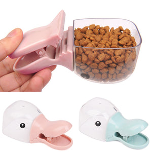 1Pc Multi-Purpose Cute Cartoon Pet Food Scoop Plastic Duckbilled Cats Dogs Food Spoon Pet Feeder Feeding Supplies Blue Pink - petsprive.com