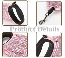 Load image into Gallery viewer, Pet Retractable Leash Blue & Pink Rhinestone Bling Crystal Dog Puppy Pet Lead Leash 3M Flat Line - petsprive.com