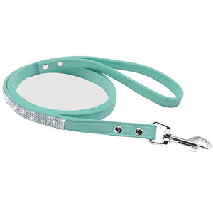 Bling Rhinestone Dog Cat Collars Leather Pet Puppy Kitten Collar Walk Leash Lead For Small Medium Dogs Cats Chihuahua Pug Yorkie - petsprive.com