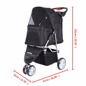 Pet Dog Puppy Cat Travel Stroller Pushchair Jogger Buggy Swivel 3 Wheels - petsprive.com