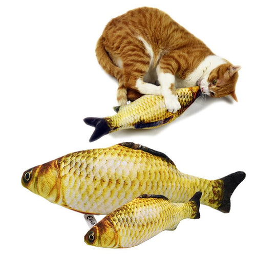 Soft Plush Creative 3D Carp Fish Shape Cat Toy Gifts Catnip Fish Stuffed Pillow Doll Simulation Fish Playing Toy For Pet - petsprive.com