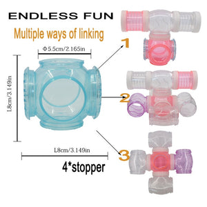 six-through tunnel fittings Transparent acrylic cage Hamster Accessories cheap Small 4/Plug - petsprive.com