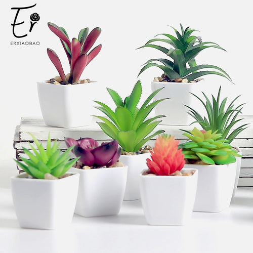 Lovely Artificial Plants with Pot Simulation Succulents Mini Bonsai Potted Placed Green Fake Plants Table Decoration - petsprive.com