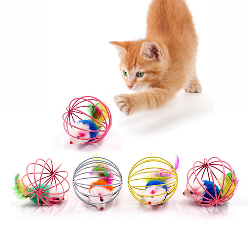 Cat Interactive Toy Stick Feather Wand With Small Bell Mouse Cage Colorful Cat Teaser Toy Pet Supplies - petsprive.com