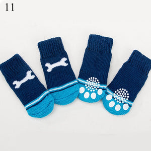 4Pcs Warm Puppy Dog Shoes Soft Pet Knits Socks Cute Cartoon Anti Slip Skid Socks For Small Dogs Breathable - petsprive.com