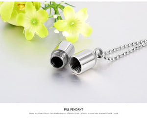 Stainless Steel Pills Pendant Cremation Urn Necklace for Ashes Customize Bottle Pendant for Dog Ash Jewelry Beads Chain - petsprive.com