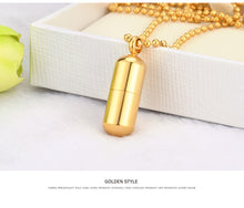 Load image into Gallery viewer, Stainless Steel Pills Pendant Cremation Urn Necklace for Ashes Customize Bottle Pendant for Dog Ash Jewelry Beads Chain - petsprive.com
