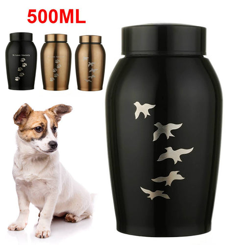 Gold/Black Stainless steel Urns Pets Dog Cat Birds Mouse Cremation Ashes Urn Keepsake Casket Columbarium Pets Memorials - petsprive.com